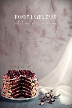 Honey layer cake with cherries and marscapone   Eat Love and Be Happy