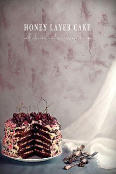 Honey Layer Cake with Cherries & Mascarpone Cream via Eat Love and Be Happy! #recipe
