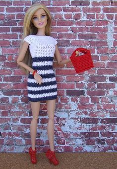 Irresistible Crochet a Doll Ideas. Radiant Crochet a Doll Ideas. Barbie Knitting Patterns, Knitting Dolls Clothes, Crochet Barbie Clothes, Barbie Patterns, Doll Clothes Patterns, Clothing Patterns, Dress Patterns, Moda Barbie, Barbie Dress