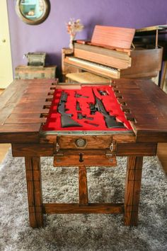Woodworking Shop Dining Room Table with Secret Compartment for Storing Guns or other Valuables Hidden Compartments, Secret Compartment, Woodworking Plans, Woodworking Projects, Woodworking Furniture, Woodworking School, Woodworking Quotes, Unique Woodworking, Intarsia Woodworking