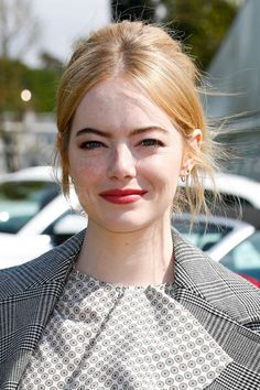 Emma Stone rocked a lighter version of her signature red hair with a freshly dyed strawberry blonde.