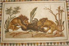 Roman Mosaic. Lions. Nabeul, Tunisia.