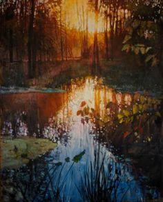 "Saatchi Art Artist todd doney; Painting, ""Refected Trees, Oct. 18, 7:31 AM"" #art"