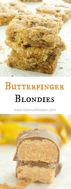 Mouthwatering butterfinger blondie recipe that is so good and packed with chopped up butterfingers! Absolutely delicious served warm with a scoop of ice cream!