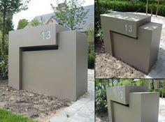 Briefkasten minimalistisches Design Edelstahl Beton