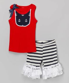 Look what I found on #zulily! Blue Anchor Bib Tank & Ruffle Shorts - Infant, Toddler & Girls by Ruby and Rosie #zulilyfinds