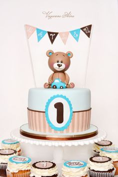 Teddy bear Birthday Cake - Contact Hyderabad Cupcakes to order! Teddy Bear Birthday Cake, Teddy Bear Cakes, Baby Birthday Cakes, Baby Boy Cakes, 1st Boy Birthday, Baby Shower Cakes, 1st Birthdays, Cupcakes, Christening