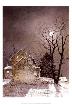 Working Late, winter landscape by Ray Hendershot. Watercolor Landscape, Landscape Art, Landscape Paintings, Watercolor Paintings, Watercolor Paper, Watercolors, Nocturne, Color Mauve, Winter Art