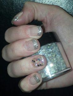 Shellac silver glitter french