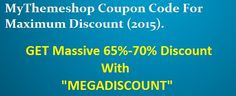 If you are looking for MyThemeShop Coupon Code With Maximum Discount, you find the right place then, This MyThemeShop Promo Code will let You get Massive 65% Discount on all Premium WP Themes Provided under themes Category. http://mydaboo.com/mythemeshop-coupon-code/