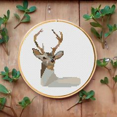 Tittle: Deer small  This PDF counted cross stitch pattern available for instant download.  Skill level: Beginner.  Pattern size (without white borders around): stitches: 70h x 60w ready design: 5.0h x 4.3w for 14-count fabric. You can frame it in 7 hoop  Floss: 11 DMC colors  14-count Aida fabric  This PDF pattern include: • description • colorful symbols chart • color blocks chart • DMC floss list • beginners instructions  More patterns with birds and animals are here…