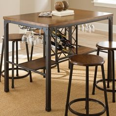 steve silver rebecca wine storage counter height dining table handpainted metal pub tables u0026