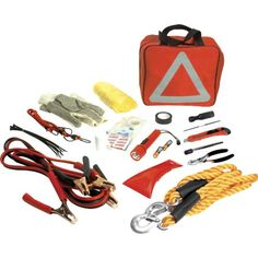 This great emergancy kit includes 49 pieces with an assortment of 15 items. Kit includes 1: 150 AMP 10 GA 8ft jumper cables 1: 6 inch split joint Pliers 1: Roll of Electrical tape 10: 9 in cable ti...