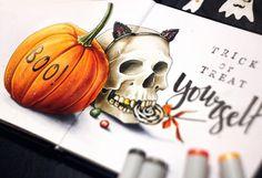 Trick or treat yourself! 4/4 #lk_sketch_marathon  #art_markers, #art_we_inspire, #topcreator , #sketch, #illustration, #скетч, #иллюстрация, #скетчбук, #skull, #marker, #copicmarker, #copic, #copicart, #одинденьсхудожником,  #savannasketch, #candy , #boo, #monster, #pumpkin, #trickortreat, #мистический_марафон_лотерея