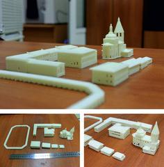 3d-printed models of buildings