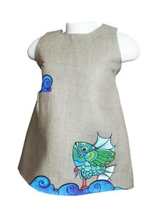 """Girls dress in light grey color linen - painted dress -  unit work - size by height 34""""/86 cm for 12-18 month - children clothing"""