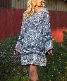 Another great find on #zulily! Ananda's Collection White & Blue Bell-Sleeve Dress by Ananda's Collection #zulilyfinds