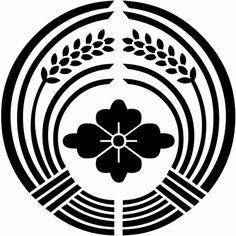 抱き稲に花菱(だきいねにはなびし)Rice plants surround water chestnut flower.