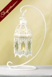 Thumbnail of 10 Distressed White Hanging Moroccan Glass Lantern with Stand