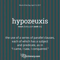 Today's Word of the Day is hypozeuxis. #wordoftheday #language #vocabulary