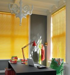 Contemporary colours and finishes from soft pastels, sophisticated white shades or bright stunning metals. Precise control of light intensity and direction with the quick twist of a wand. Venetian Blinds from Luxaflex® Red Blinds, Blinds For Windows, Window Blinds, Office Blinds, Store Venitien, Kitchen Window Treatments, Yellow Interior, Home Office Decor, Home Decor