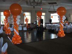 Balloon columns for dance floor. Balloon column with 3' balloon on the top. www.DreamARKevents.com