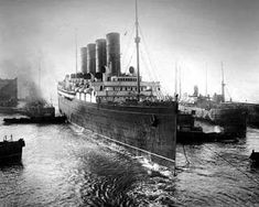 Cunard Line's speed queen Mauretania enters the Liverpool Docks.