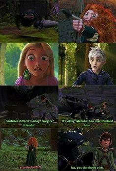Merida, Rapunzel, and Jack meet Toothless. Disney Pixar, Disney Rapunzel, Disney And Dreamworks, Jack Frost, Humor Disney, Funny Disney Memes, Disney Crossovers, The Big Four, Disney And More