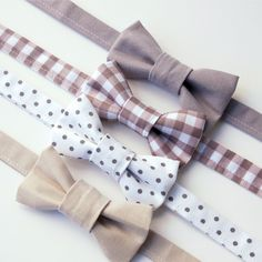 Boys Bow Ties - Grey, Greige - Baby Toddler Kids - Polka Dot Gingham - Cake Smash Ring Bearer Wedding Family Photos by EvaandDell on Etsy https://www.etsy.com/listing/249070103/boys-bow-ties-grey-greige-baby-toddler