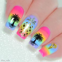 30 Summer Nail Art Ideas Best Nail Designs for Summer Bright Summer Acrylic Nails, Best Acrylic Nails, Summer Nails, Palm Tree Nails, Vacation Nails, Nailed It, Spring Nail Art, Rainbow Nails, Dream Nails