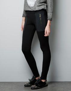 LEGGING COMBINADO GUATEADO - Pantalones - Mujer - ZARA