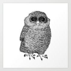 Owl Nr.3 Art Print by Kriszti Balla #owl #illustration #nature #krisztiballa #bird #artprint #ballpointpen