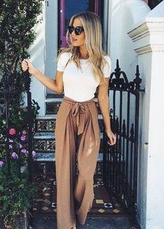 White T Shirt + Wide Leg Pants | Lovika Outfit Ideas #Tee #OOTD