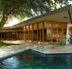 Frank Lloyd Wright - Randall Fawcett House, 1961 - Los Banos, CA - Usonian Style Casas De Frank Lloyd Wright, Frank Lloyd Wright Homes, California Ranch, Central California, Usonian, Hm Home, Ranch Style Homes, Ranch Homes, Modern Architecture