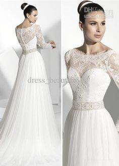 Wholesale Elegant Neck A-line V-Neck Empre Waist Long Sleeve Wedding Dresses Lace Chapel Train Bridal gowns, Free shipping, $170.45/Piece | DHgate