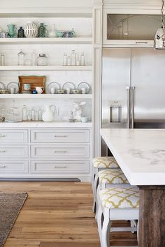 Same kitchen, different view. Loving that this kitchen has this area of open shelving (but still closed cabinetry) + the style of cabinetry. House of Turquoise. Kitchen Redo, New Kitchen, Kitchen Dining, Kitchen Shelves, Kitchen Built Ins, Kitchen White, Kitchen Pantry, Rustic Kitchen, Kitchen Storage