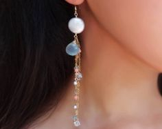 Long cascading earrings coral aqua pearl gold chain beach style bohemian jewelry long gold gemstone earrings