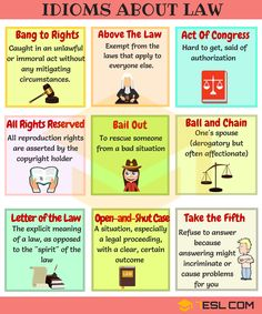Idioms about Law and Politics! Learn useful English Idioms and expressions about Law and Politics with meaning, ESL pictures and examples. English Idioms, English Phrases, English Writing, English Study, English Words, English Lessons, English Grammar, Learn English, English English
