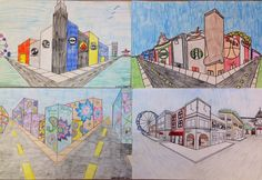 7th grade two point perspective fantasy street corners