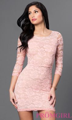 Image of 3/4 sleeve open-back short fitted lace dress. Style: DC-44218 Detail Image 2