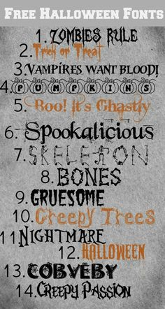These Halloween fonts are great for making party place-cards, gift tags, decorative signs, banners, you name it! Free Fonts for Halloween Free Fonts For HalloweenFree Dingbats For Fa. Halloween Fonts, Halloween Signs, Halloween Cards, Fall Halloween, Halloween Labels, Halloween Porch, Halloween 2020, Halloween Ideas, Halloween Decorations