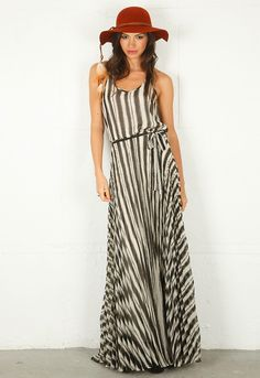 Parker Pleated Maxi Dress in White Stripe. Maybe for the church wedding!