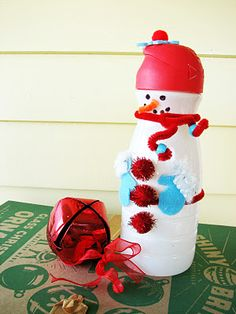 Trisha Brink Design: Craftiness Runs in our Family Snowman Crafts, Christmas Projects, Kids Christmas, Holiday Crafts, Coffee Creamer Bottles, Recycled Crafts, Diy Crafts, Plastic Bottle Crafts, Plastic Bottles