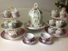 Vintage tea party - by RosesandBowsCakery @ CakesDecor.com - cake decorating website