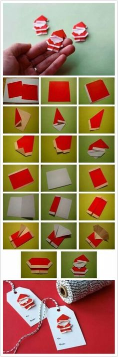Cute gift tags in origami style: Santa Claus paper .- Cute gift tags in origami style: paper napkins fold. Noel Christmas, Christmas Gift Tags, Christmas Ornaments, Father Christmas, Christmas Wrapping, Primitive Christmas, Retro Christmas, Christmas Birthday, Country Christmas