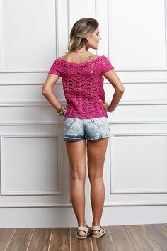 Receitas Círculo - Blusa Rosa em Crochê