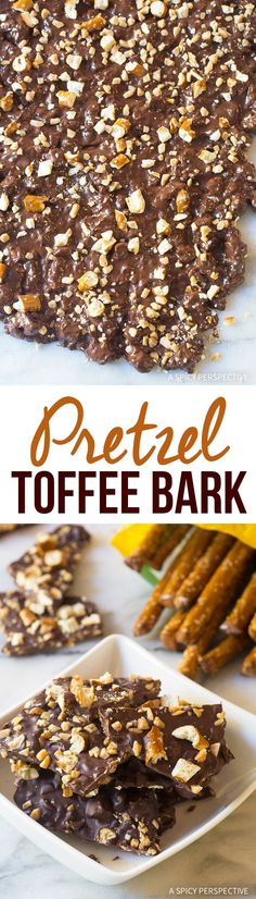 Serve this simple Chocolate Pretzel Toffee Bark at your next holiday gathering this season! Made with Rold Gold Pretzels! Candy Recipes, Fall Recipes, Dessert Recipes, Easy Desserts, Delicious Desserts, Yummy Food, Christmas Desserts, Christmas Baking, Toffee Bark