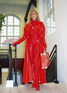 Red PVC Outfit  Raincoat