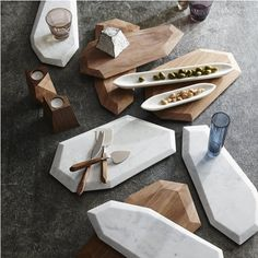 Faceted Marble + Rosewood Serving Pieces - $52