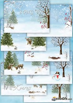 Set of children winter backgrounds for Photoshop - snowy forest, deers, hares